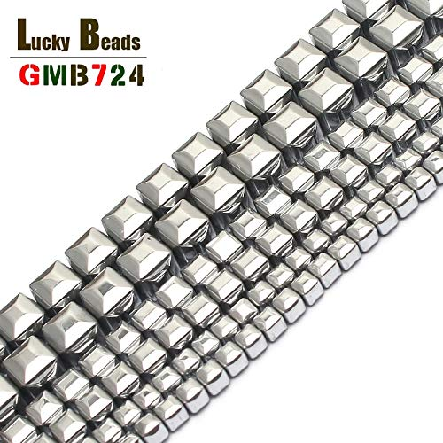 (Calvas Natural Stone Beads 3/4/6mm Silver-Plated Hematite Cube Square Beads for Jewelry Making 15inches Spacer Beads Making Bracelet - (Item Diameter: 3mm 130pcs)