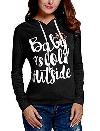 Women Christmas Snowflake Print Long Sleeve Sweatshirt Hoodie Pullover Tops Blouse (M,Black) (Hoodie Snowflake Sweatshirt)