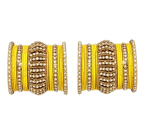 Ratna Indian Bollywood Antique Gold plated Women Traditional Bridal wedding wear bangles set jewelry (Yellow, 2.6)
