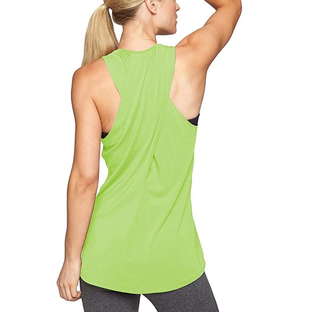 Leoy88 Women Training Yoga Gym Waistcoat Blouses Running Jogger Sport Vest Tops Green by Leoy88 (Image #2)