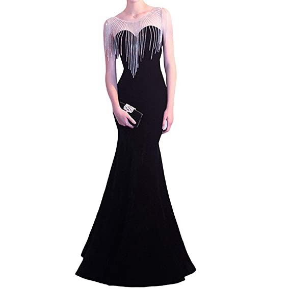 TOYIS Women Long Wedding Prom Dresses Sleeveless Sequin Party Evening Gown with Tassels (Black,