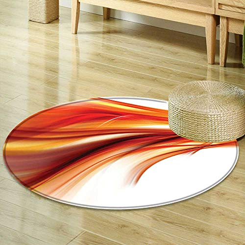 Mikihome Round Area Rug Abstract Modern Contemporary Abstract Smooth Lines Blurred Smock Art Flowing Rays Indoor/Outdoor Round Area Rug R-47