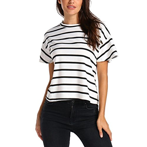 Lamb Bolero (iYYVV Women Ladies Fashion Casual Striped Short Sleeve T-Shirt Tops Blouse)