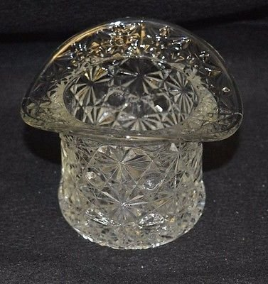 Fenton Glass Top - Fenton Clear Glass Daisy and Button Top Hat 3 in x 3 in x 2.25 in