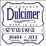 D\'Addario J6401 Plain Steel Dulcimer Single String, .012