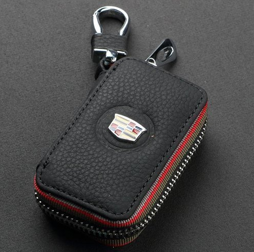 (ESMPRO Cadillac Black Leather Car Key Case Coin Holder Zipper Remote Wallet Key Chain Bag)