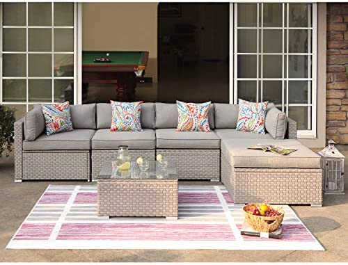 COSIEST 6-Piece Outdoor Furniture Set Warm Gray Wicker Sectional Sofa w Thick Cushion