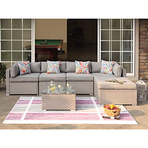 COSIEST 6-Piece Outdoor Furniture Set Warm Gray Wicker Sectional Sofa w Thick Cushions, Glass Coffee Table, 1 Ottoman, 4 Floral Fantasy Pillows for Garden, Pool, Backyard