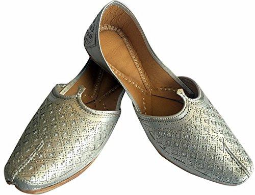 Étape N Style Hommes de Plat Argenté de mariage traditionnel indien Khussa Chaussures en cuir Flâneur panjabi jutti