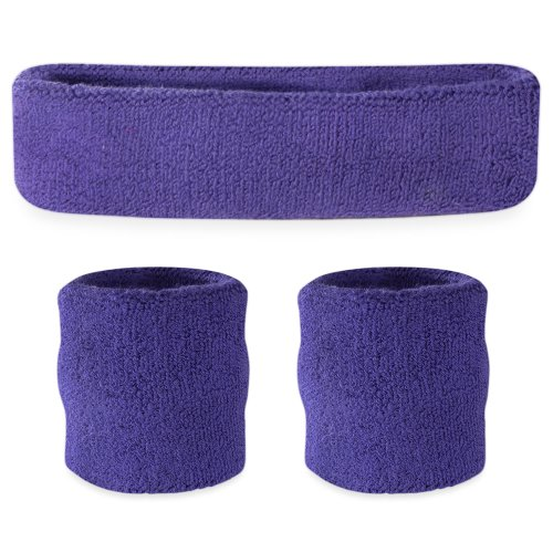 Suddora Purple Headband/Wristband Set - Sports Sweatbands for Head and Wrist]()