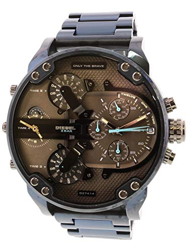 (Diesel Men's Mr Daddy 2.0 Analog-Quartz Watch with Stainless-Steel-Plated Strap, Blue, 24 (Model: DZ7414)