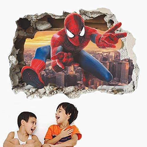 LIZHIOO 3D Effect Hero Through Decorative Wall Stickers For Nursery Kids Room Decorations Cartoon Spiderman PVC Broken Wall Decal Poster
