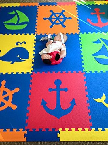 SoftTiles Kids & Baby Foam Playmat- Nautical Ocean Theme- Interlocking Blue, Red, Orange, Yellow, Lime Floor Tiles for Children's Playrooms and Baby Nursery (6.5'x6.5') SCNAUBROYL