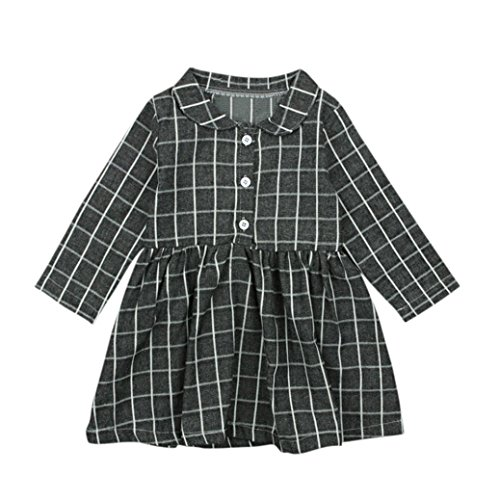 Dinlong Toddler Newborn Infant Baby Girls Dress Outfits Long Sleeve Plaid Print Princess Clothes (3-4 Year, ()