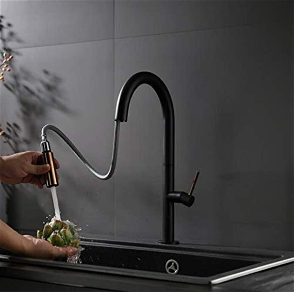 LIBINA - bathroom Home Faucet, Brass Luxury Bathroom Basin Hot and Cold Copper Blank Paint Pull Out Water Mixer Single Handle Single Hole Tap