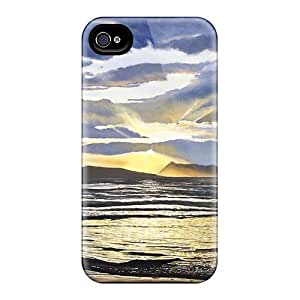 Flexible Tpu Back Case Cover For Iphone 4/4s - Painting Sunset Corfu Greece by lolosakes