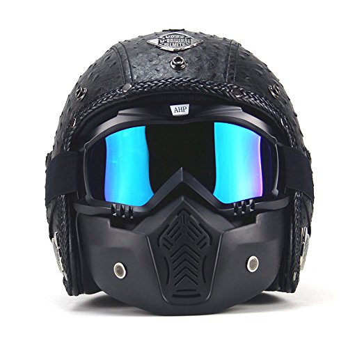 AUTOPDR Open Face Vintage Motorcycle Helmet PU Leather Harley Helmets 3/5 Motorcycle Chopper Bike Helmet with Goggle Mask M(57-58cm)
