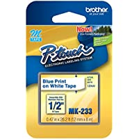 1/2 (12mm) Blue on White P-touch M Tape for Brother PT-80, PT80 Label Maker