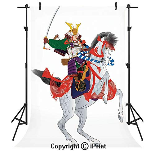 (Japanese Photography Backdrops,an Asian Soldier with Local War Clothes Armour Riding a Prancing Horse Illustration,Birthday Party Seamless Photo Studio Booth Background Banner 3x5ft,Red Green)