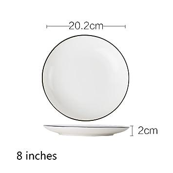 White dinner plate ceramic korean creative round plate simple western dish steak plate 4.5 inch 5  sc 1 st  Amazon.com & Amazon.com | White dinner plate ceramic korean creative round plate ...