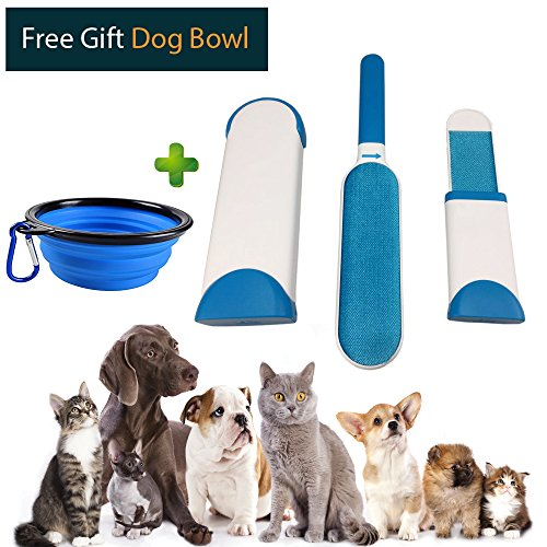 Petple Pet Hair Fur & Lint Remover Self-Cleaning & Reusable brush for Clothing & Furniture come with both Standard size and Travel Size Plus Collapsible Food Bowl for Dogs, Cats