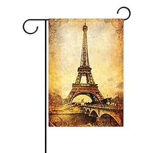 wozo Vintage París Torre Eiffel jardín bandera Francia Ciudad poliéster bandera al aire libre casa fiesta