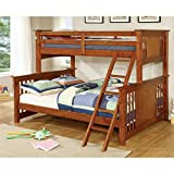 Furniture of America Roderick Twin over Queen Bunk Bed in Oak