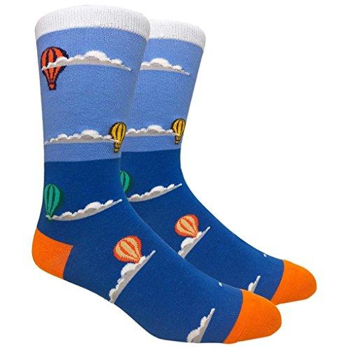 - Men's 1 Pack Novelty Crew Socks w. Design (Hot Air Balloon )
