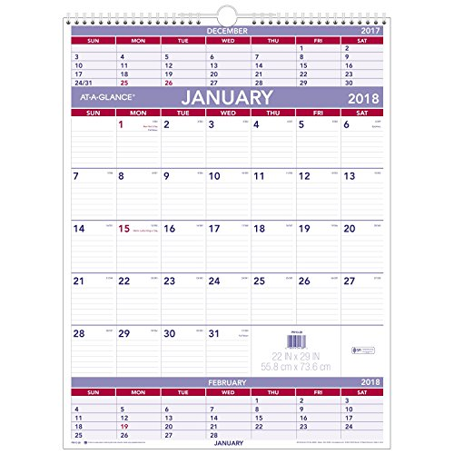 "AT-A-GLANCE 3-Month Wall Calendar, January 2018 - December 2018, 22"" x 29"", Wirebound (PM1028)"