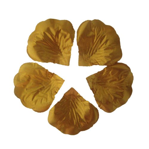 JUYO VONSAN 1000pc Artificial Rose Petals Wedding Flowers Favors for you special wedding (Gold)