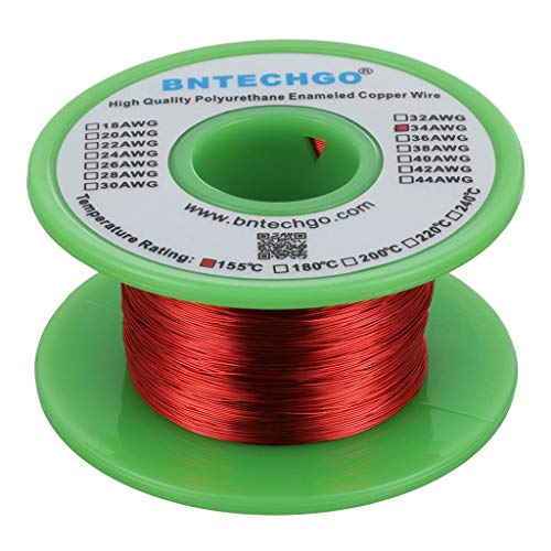 BNTECHGO 34 AWG Magnet Wire - Enameled Copper Wire - Enameled Magnet Winding Wire - 4 oz - 0.0063