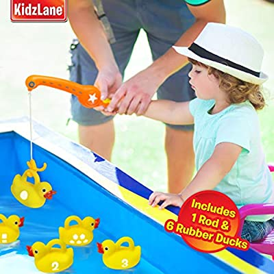 Kidzlane Bath Toys Fishing Game - 1 Toy Fishing Pole and 6 Rubber Duckies - Teaches Numbers & Shapes - Mold-Proof Design with no Holes - Great Learning Toy for Babies, Toddlers & Kids: Toys & Games