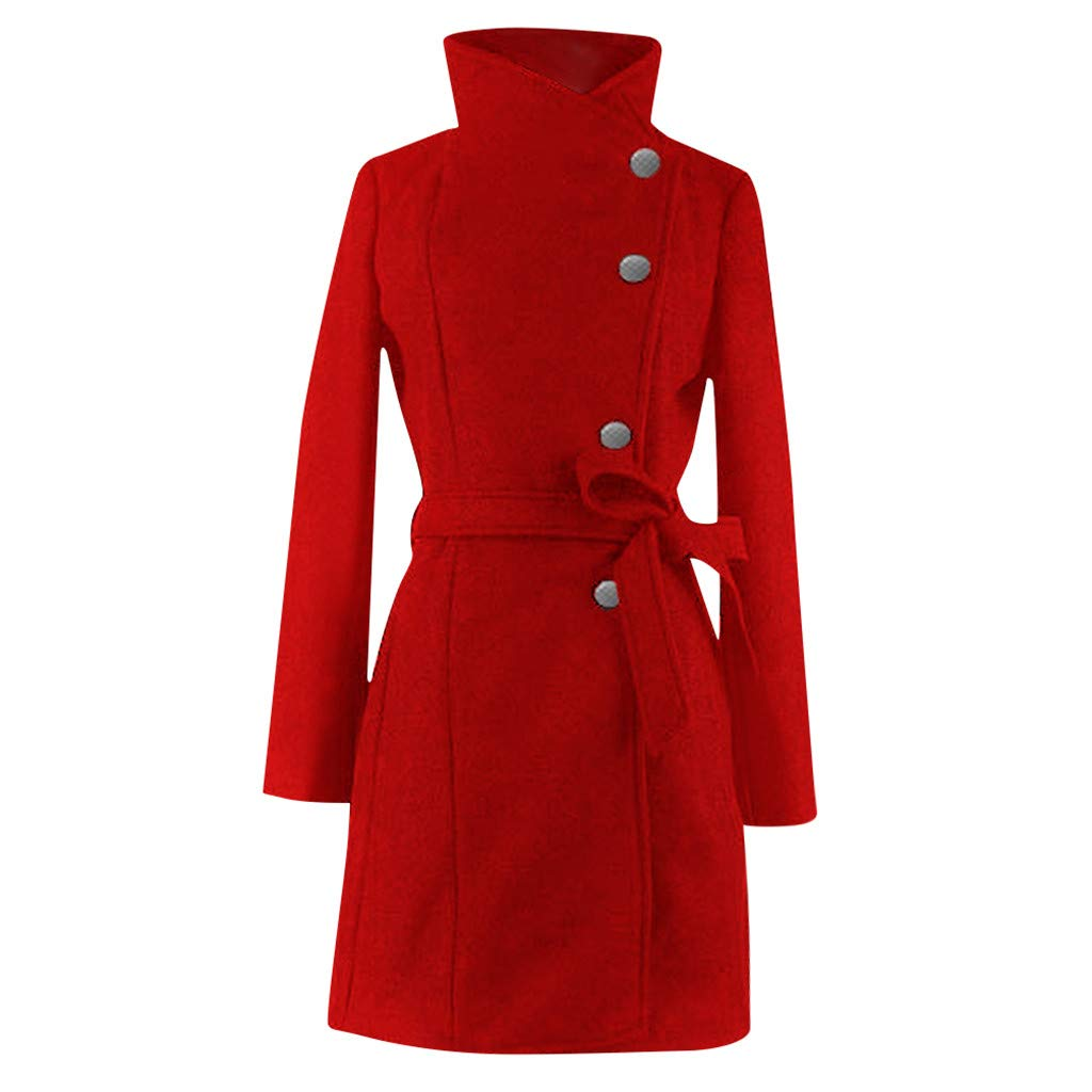 sheart 9 Womens Pea Coats Winter Thick Wool Lapel Solid Casual Slim Elegant Overcoat Trench Jacket with Belt Red by sheart 9