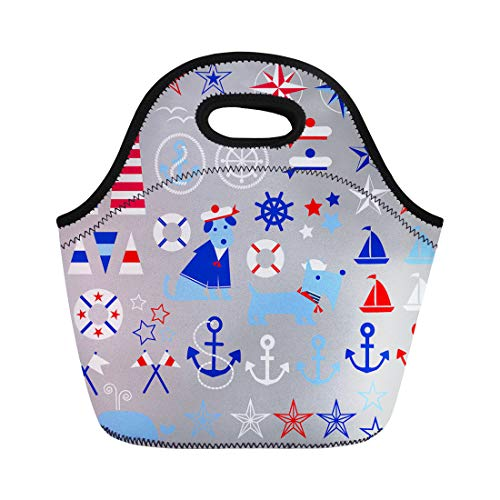 Life Preserver Sailor Purse - Semtomn Neoprene Lunch Tote Bag Navy