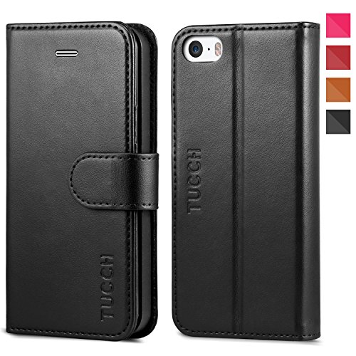 Click to buy iPhone SE Case, iPhone 5s Case, TUCCH Wallet Case for iPhone SE / iPhone 5s / iPhone 5, Flip Leather Wallet Cases Slim Folio Book Cover with Credit Card Slots, Cash Clip, Stand Holder, Magnetic Closure, Black - From only $15.99