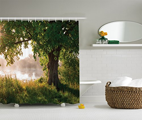 Tree Shower Curtain Oak Tree Decor by Ambesonne, Mystic Landscape Foggy Scene and Stream View Painting, Polyester Fabric Bathroom Shower Curtain Set with Hooks, Green Brown White Olive Drab - Olive Drab Color