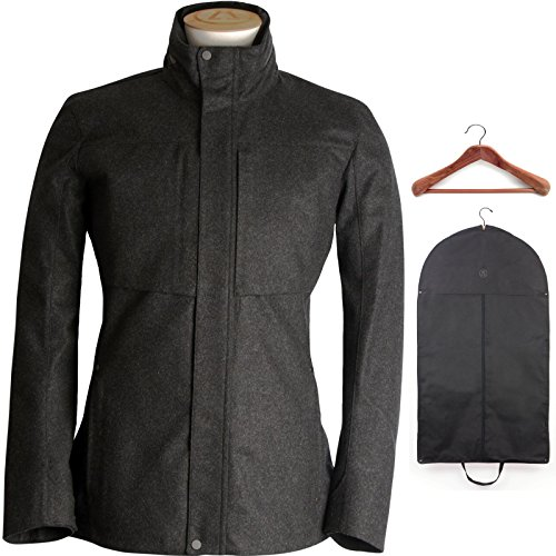 Alchemy Equipment Men's Laminated Wool Jacket Charcoal Flannel w/Hanger and Garment Bag Large