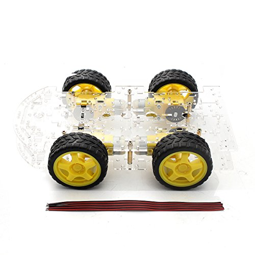 HITSAN 4WD Robot Smart Car Kit Chassis W/Mobile Platform 4 Wheels For DIY Gift One Piece by HITSAN