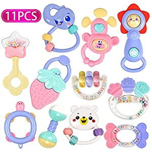 Baby Rattles, Baby Toys, Grab Toys, Shaking Bell Rattles Teether Set with Storage Box for 0,3,6,8,10,12,18 Month Old Infant, Newborn Baby, Candy Colors - Tumama (11pack)