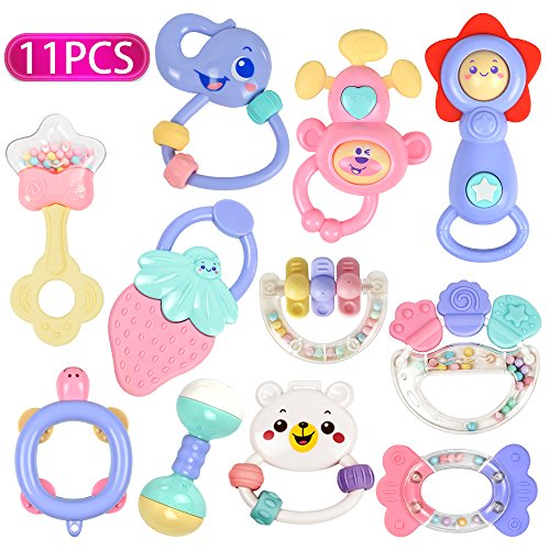 ttles Teethers Set, Grab Toys, Musical Toys, Shaking Bell Rattle Set with Storage Box, BPA Free for Infant, Newborn Baby, Toddler (8 Rattles Teether Set + 3 Musical Toys) (3 Month Lightweight Strollers)