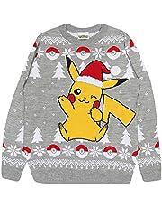 Popgear män, unisex Pokemon Pikachu Santa Hat Christmas Men's Knitted Jumper Grey Tröjor