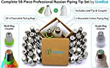 Russian Piping Tips 58pc Set by LiveEco - Includes Couplers, Piping Bags, Flower Chart and Leaf Tip - Professional Cake & Cupcake Decorating Nozzle Kit + Free Buttercream Recipe & Instructional Videos
