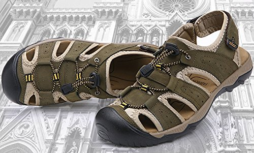 Mens Leather Fisherman Sandals Outdoor Sports Casual Closed Toe Water Shoes Green SIGYD0Bx