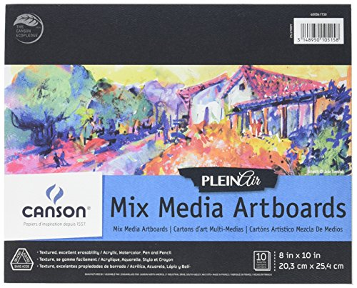 Canson Plein Air Mix Media Art Board Pad for Watercolor, Acrylic, Pens and Pencils, 8 x 10 Inch, Set of 10 Boards by Canson