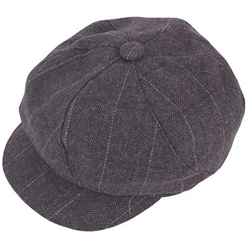 Raon N339 Twist Herringbone Check Newsboy Cap Beret Cabbie Flat Golf Club Gatsby Hat (Brown)