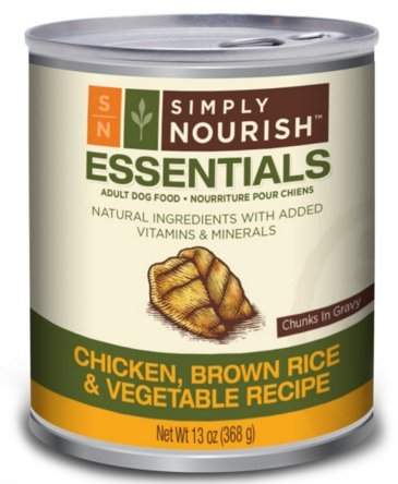 Simply Nourish Essentials Natural Wet Adult Dog Food, 13 Ounces (Chicken, Brown Rice and Vegetables, Pack of 6)