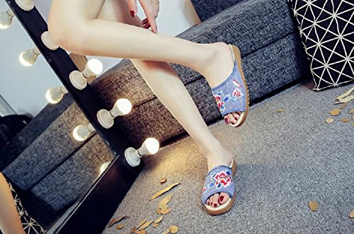 Lazutom - Zapatillas de estar por casa para mujer Azul