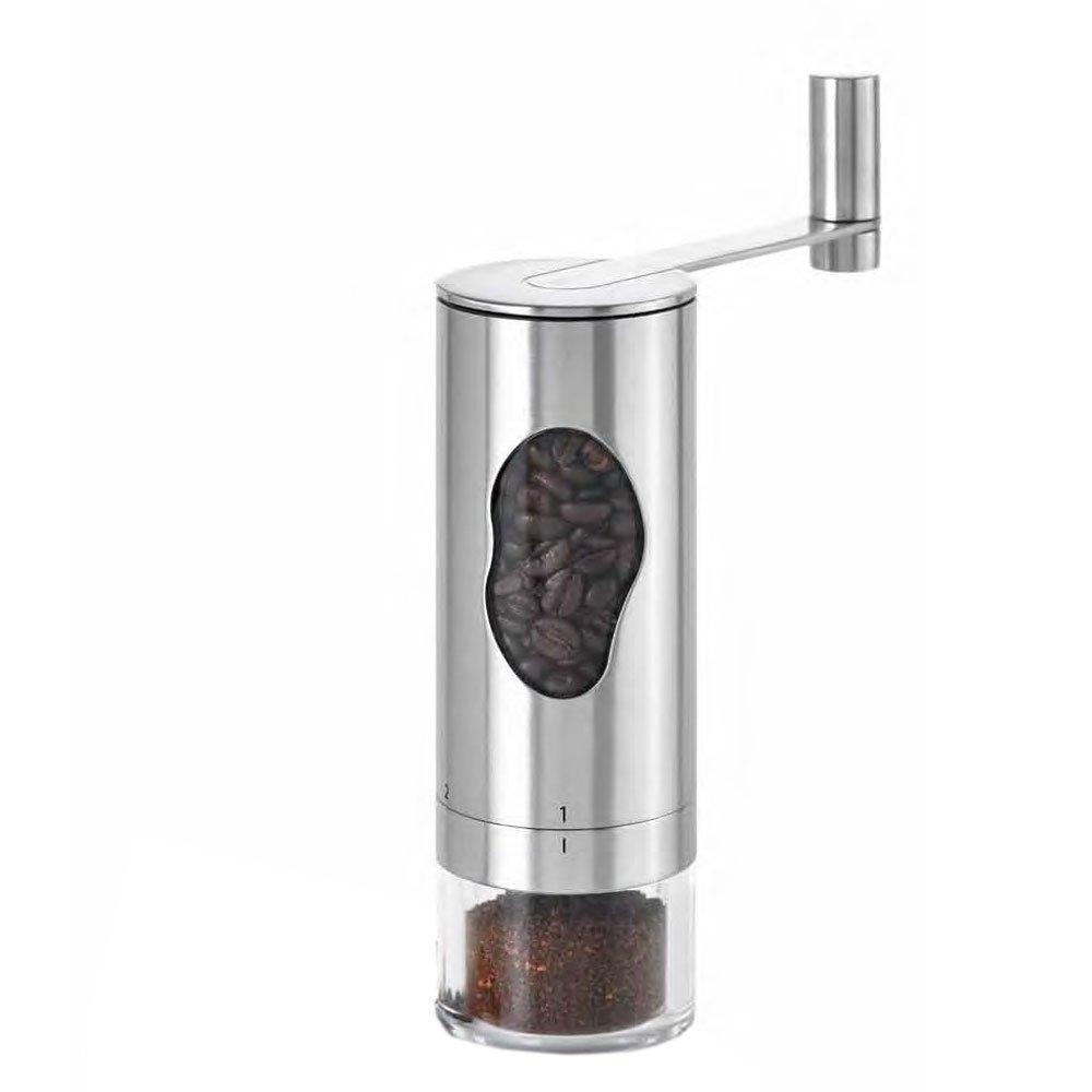 18 cm hoch /Ø 6 cm Kaffeem/ühle Handkaffeem/ühle Espressom/ühle Kurbelm/ühle mit hochwertigem Keramikmahlwerk Edelstahl//Acryl//Kunststoff ca