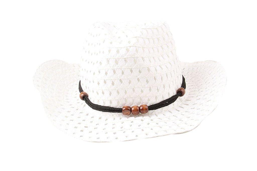 Dantiya Kids Unisex Straw Wide Brim Beach Sun Cowboy Hat 3b6144e9fca2