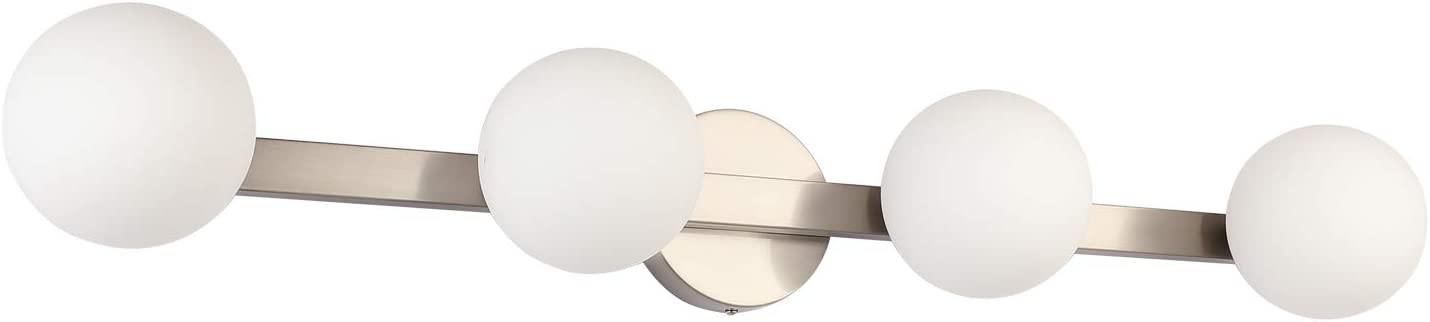 Glass Globe Vanity Lights for Mirror 4-Light, Joosenhouse Industrial Brushed Nickel Indoor Wall Sconce Bath Light in Home Up or Down Bathroom Light Fixtures 33 Inches Long